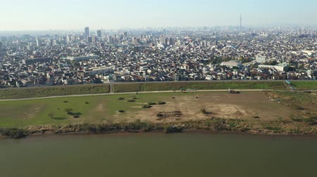 Aerial video from the sky over Edogawa
