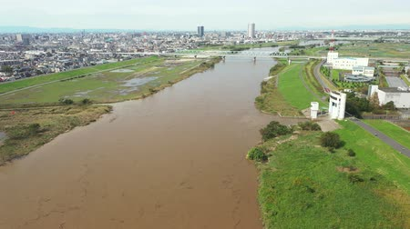 dykes : Aerial view of the flooded Edogawa Stock Footage