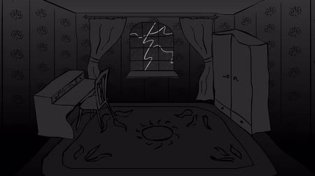 гром : Dark room with furniture and rain and thunder outside the window looped animation.