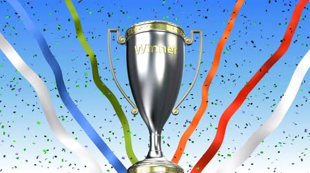 talapzat : Winner trophy cup rotating with ribbons and confetti behind. 3D illustration render Stock mozgókép