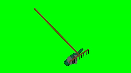 besom : Working tools of a janitor. Cleaning trash broom an rake Cartoon style animation