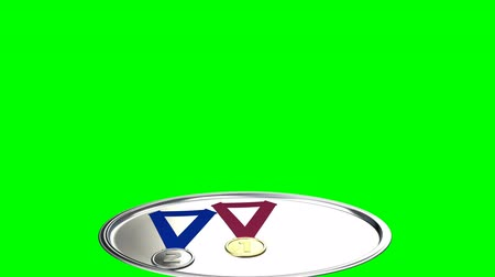 подиум : Gold, silver and bronze medals award ceremony isolated on green screen. 3d illustration render.