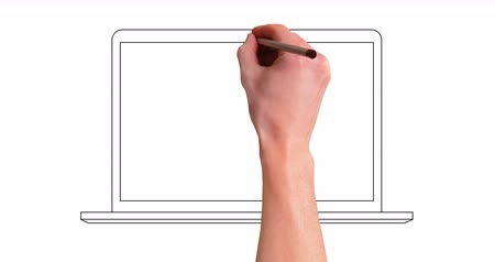hand drawning laptop line whiteboard animation