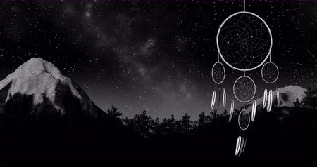 esotérico : dreamcatcher on a night sky background 3d illustration render