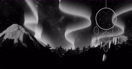 native american culture : dreamcatcher on a night sky background 3d illustration render