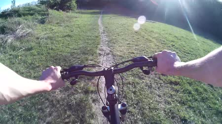 Mountain biking in a meadow. POV Original point of View