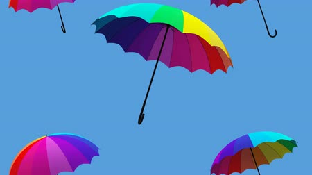hava durumu : umbrella falling animation 3d illustration render Stok Video