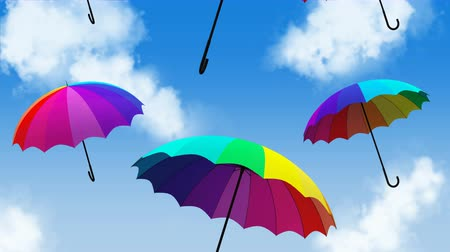 umbrella flying animation 3d illustration render