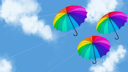 umbrella hanging animation 3d illustration render
