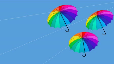 umbrella hanging animation 3d illustration render2 Stock mozgókép
