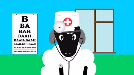 weterynarz : Sheep in a doctor uniform with stethoscope