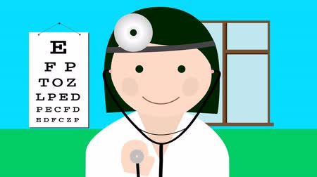 weterynarz : Doctor in uniform with stethoscope loop animation