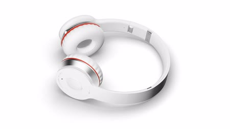 White headphones on white 3d render Isometric view Stock mozgókép