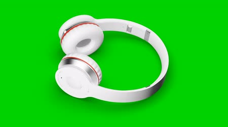 White headphones green screen 3d render Isometric Stock mozgókép
