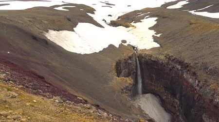 fumaroles : Journey to Kamchatka Peninsula. Canyon and waterfall Threat. The surrounding area of ??Mutnovsky volcano.