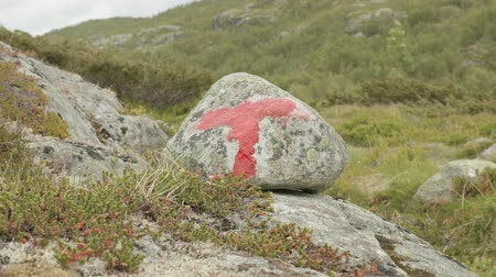 trail marker : Marker on the trekking in the mountains Stock Footage