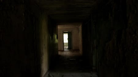 entrance : Camera flying in the hallway of the abandoned house. POV, steadycam Stock Footage