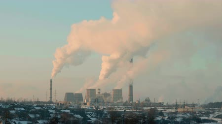 termal : Thermal power plant in the evening. Real time middle shot