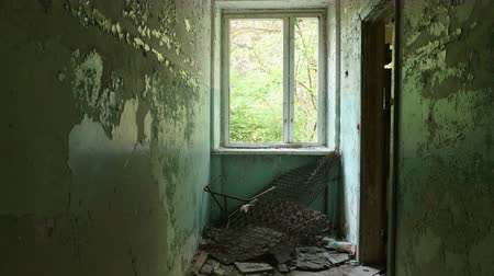 abandoned house : Window in the deserted factory. Smooth and slow dolly shot Stock Footage