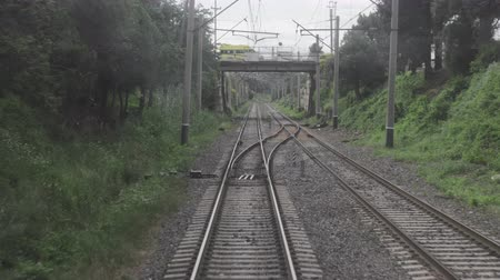 kolej : Railroad view from the window of the last railway carriage Wideo