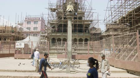 patan : PATAN, NEPAL - MARCH, 2018: Square durbar in Patan, ancient city in Kathmandu Valley. Stock Footage