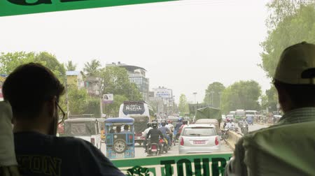 POKHARA, NEPAL - MARCH, 2018: View from the bus front window to the traffic in city. Stock Footage