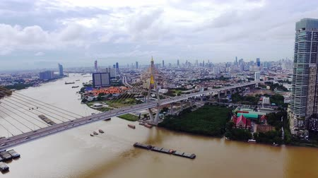 samut : Aerial Shot : Bhumibol Bridge in Samut Prakan, Thailand Stock Footage