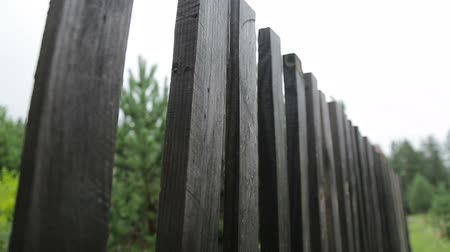 illegal alien : Wooden fence in the village Stock Footage