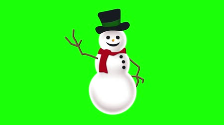 boŻe narodzenie : Animated Snowman on Green Screen
