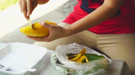 soyulması : The woman are mango peel put on a plate.