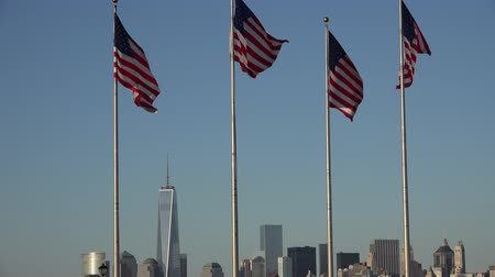 d day : American Flags, United States, Office Buildings Stock Footage