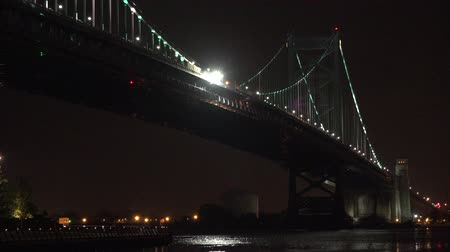 bridge man made structure : Bridge at Night, River Crossing Stock Footage
