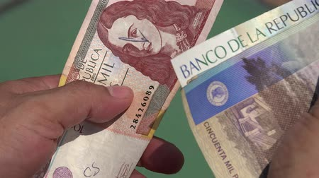 bogota : Paper Money, Bills, Currency, Colombia Stock Footage