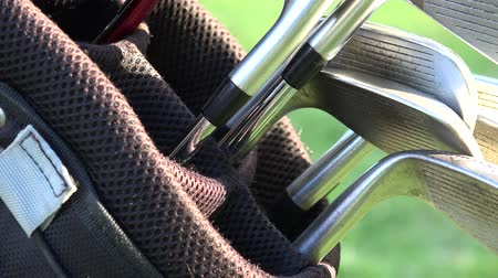 eixo : Golf Clubs, Golf Bag Stock Footage