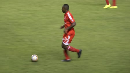 sportowiec : African Soccer Player Kicks Ball