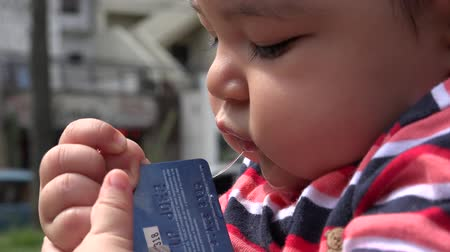 pieniądze : Baby With Credit Card Infant Newborn Wideo