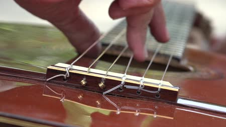 acustico : Acoustic Guitar Strings Filmati Stock