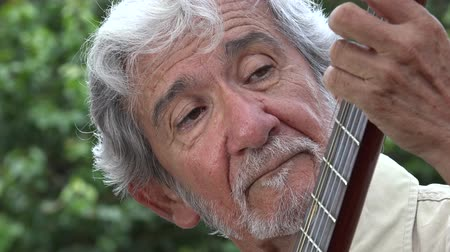 acoustical : Old Man Playing Acoustic Guitar Stock Footage