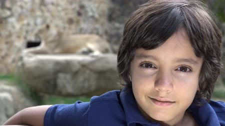 maço : Preteen Boy Posing at Lion Exhibit Stok Video