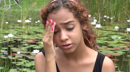 fuksja : Sad Latina Girl at Pond Wideo