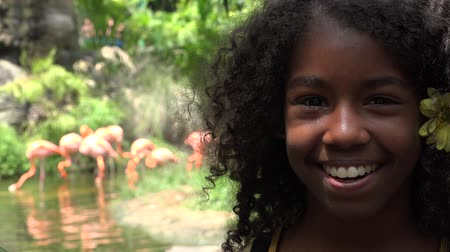flamands roses : Happy Girl africaine ados au Zoo
