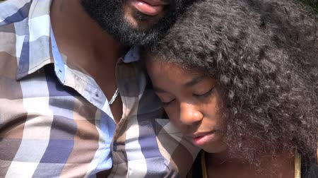 maço : African Father and Sad Daughter Stok Video