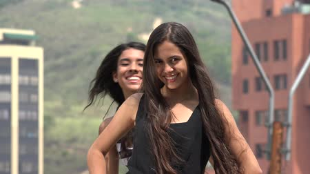 garip : Silly Photobomb of Teen Girl Stok Video