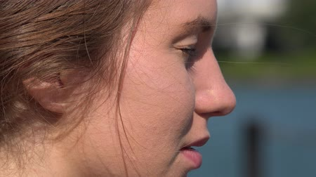 beautiful view : Side View of Womans face Stock Footage