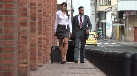 bagagem : Business Man and Woman Walking