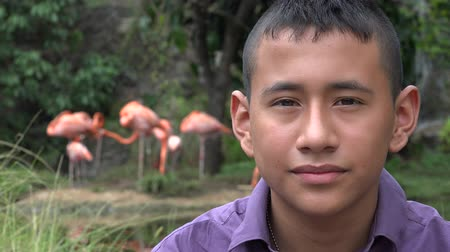 Колумбия : Colombian Teen Boy at Nature Reserve Стоковые видеозаписи