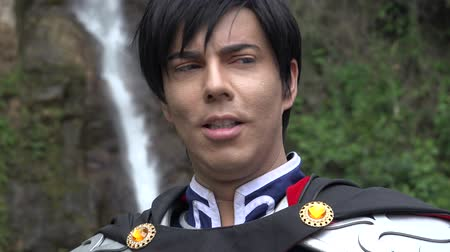 caracteres : Smiling Male Cosplay Prince Stock Footage