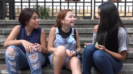 восхищенный : Excited Teen Girls Talking And Agreeing Стоковые видеозаписи