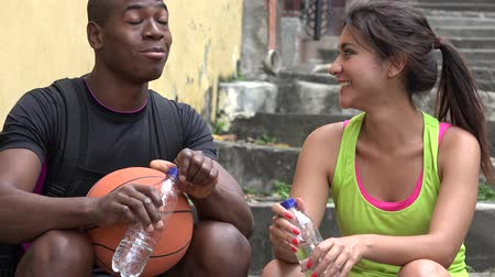 people talking : Fit People Talking And Drinking Water Stock Footage