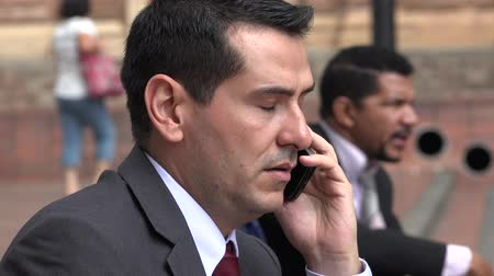 kötü : Upset Business Man Hears Bad News On Phone Call Stok Video